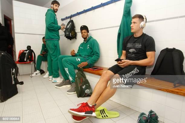 Daniel Diez #11 of Unicaja Malaga Jeff Brooks #23 and Nemanja Nedovic #16 in the dressing room prior the 20162017 7Days Eurocup Finals Leg 1 Valencia...