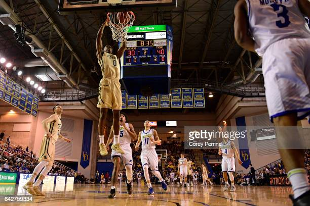 Daniel Dixon of the William Mary Tribe throws down a dunk against the Delaware Fightin Blue Hens during the second half at the Bob Carpenter Center...