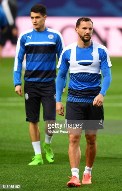 Daniel Drinkwater and Bartosz Kapustka of Leicester City look on during a training session ahead of the UEFA Champions League roundof16 first leg...