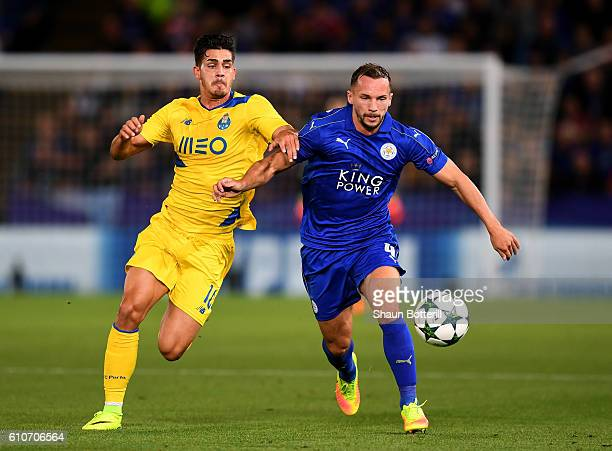 Daniel Drinkwater of Leicester City battles with Andre Silva of FC Porto during the UEFA Champions League Group G match between Leicester City FC and...