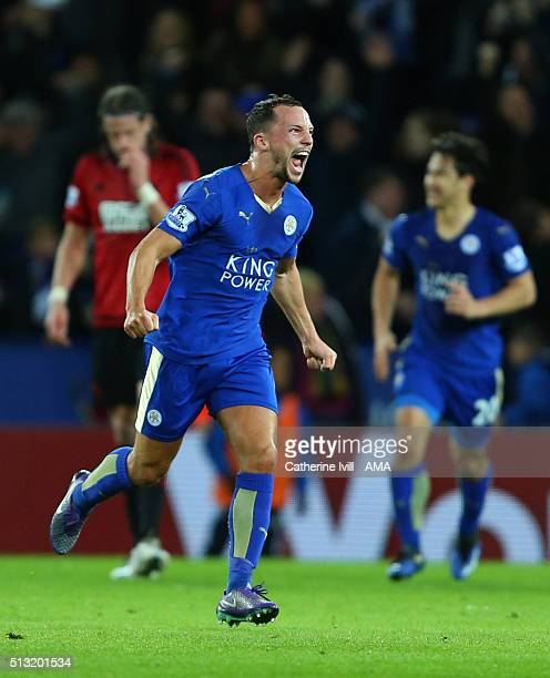 Daniel Drinkwater of Leicester City celebrates after he scores to make it 11 during the Barclays Premier League match between Leicester City and West...