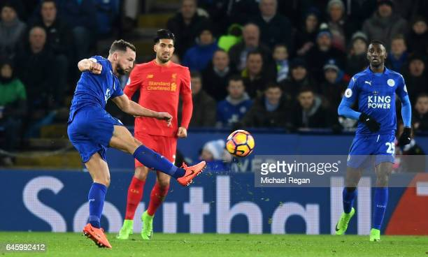 Daniel Drinkwater of Leicester City scores his sides second goal during the Premier League match between Leicester City and Liverpool at The King...