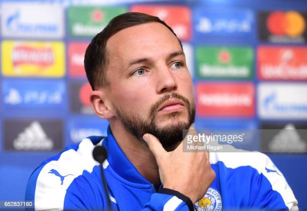 Daniel Drinkwater of Leicester City speaks during a press conference ahead of their UEFA Champions League Round of 16 match against Seville at...