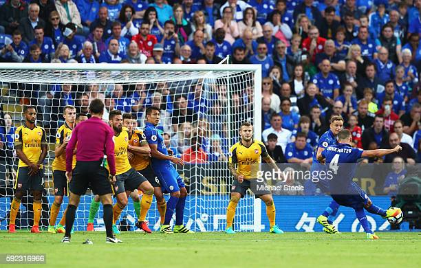 Daniel Drinkwater of Leicester City takes a freekick during the Premier League match between Leicester City and Arsenal at The King Power Stadium on...