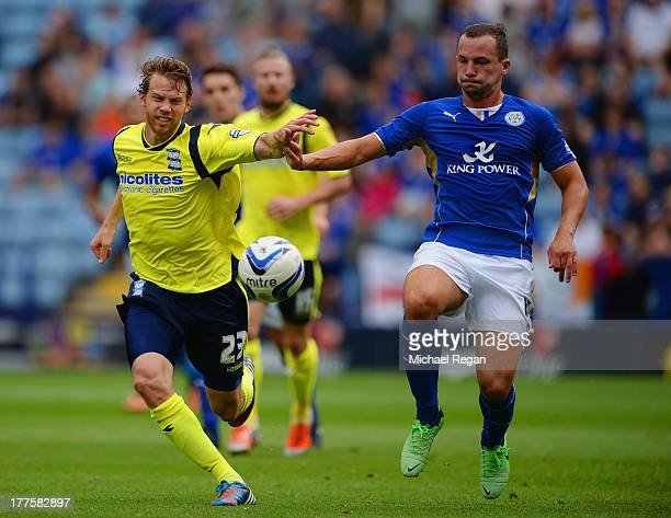 Daniel Drinkwater of Leicester in action with of Birmingham during the Sky Bet Championship match between Leicester City and Birmingham City at The...
