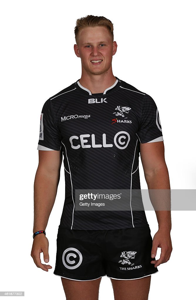 Daniel Du Preez of the Natal Sharks poses during a Sharks Super Rugby headshots session on January 20 2015 in Durban South Africa