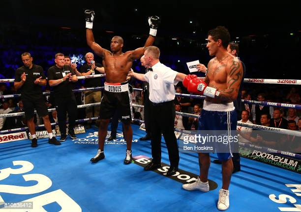 Daniel Dubois of Great Britain celebrates after defeating Mauricio Barragan of Uruguay in their WBC World Youth Heavyweight Championship bout at...