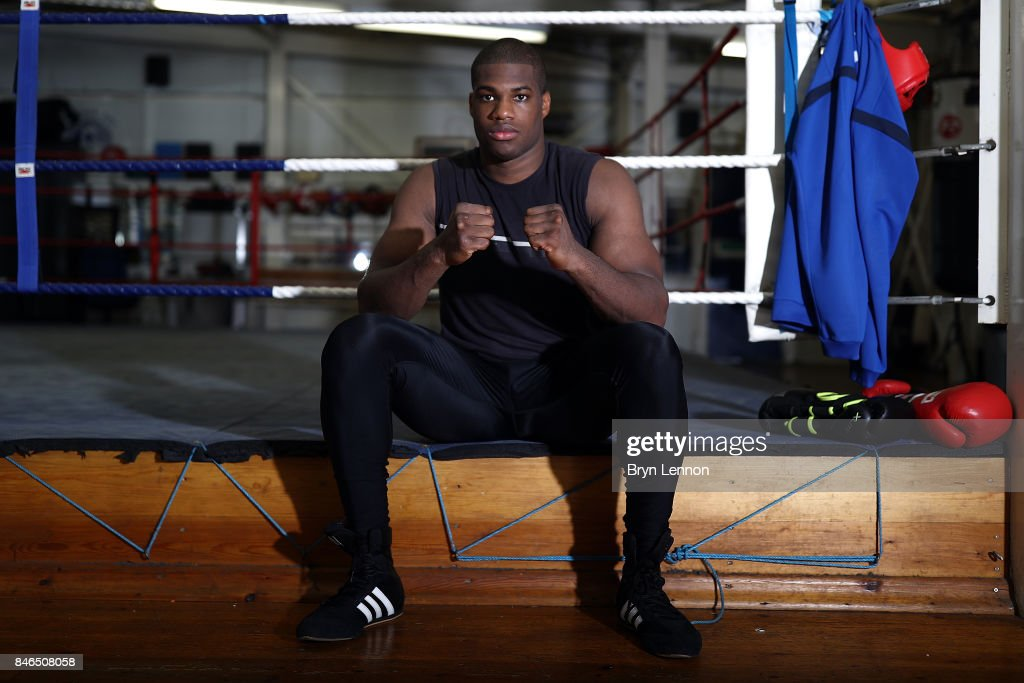 Daniel Dubois poses for a photo during a media work out at the Peacock Gym on September 13, 2017 in London, England.