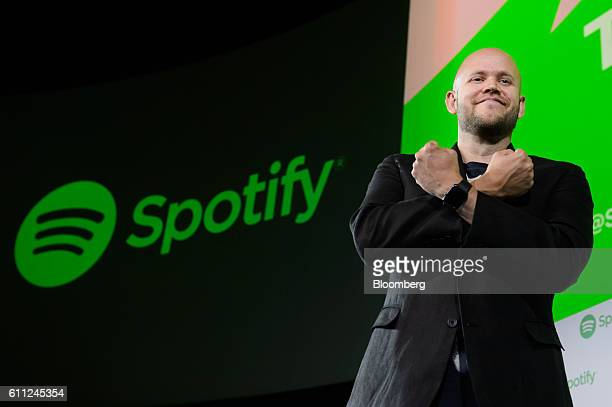Daniel Ek chief executive officer and cofounder of Spotify AB gestures as he stands for a photograph after a news conference in Tokyo Japan on...