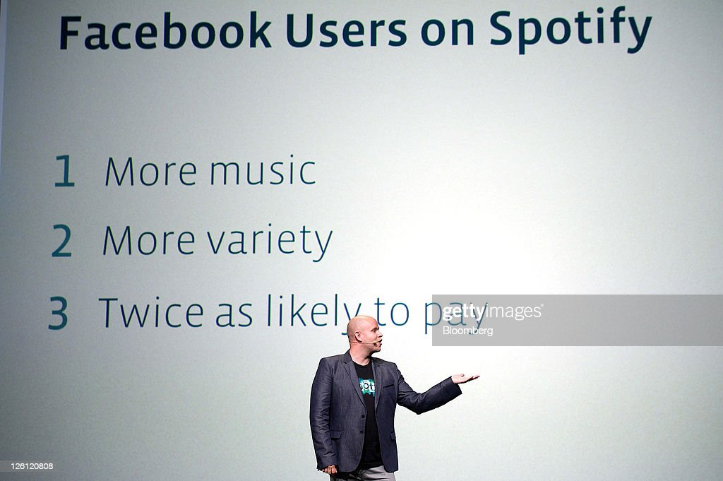 Daniel Ek, chief executive officer and co-founder of Spotify Ltd., speaks at Facebook's F8 developers conference in San Francisco, California, U.S., on Thursday, Sept. 22, 2011. Mark Zuckerberg, chief executive officer and founder of Facebook Inc., unveiled new features that will let users share music, movies and TV shows through the social network's website. Photographer: David Paul Morris/Bloomberg via Getty Images