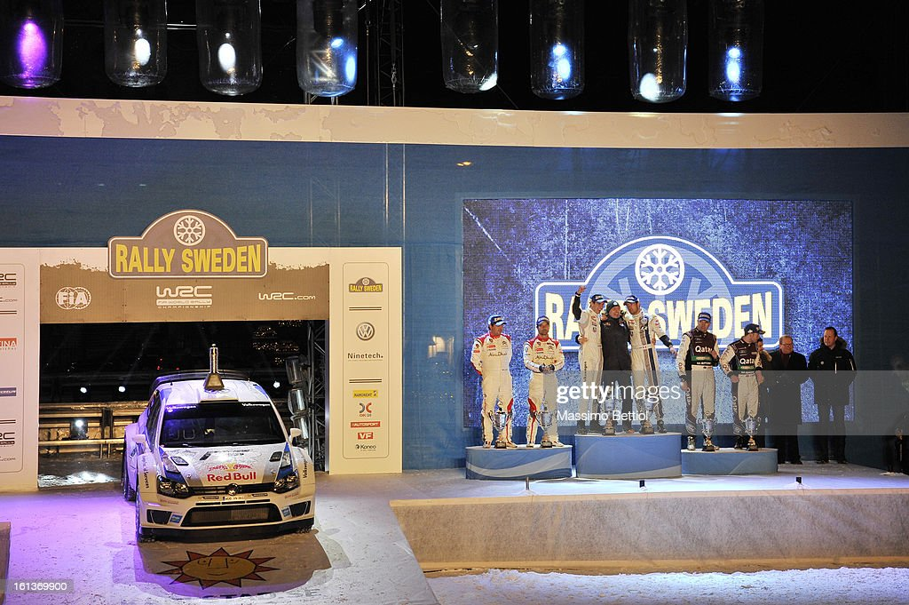 Daniel Elena of Monaco and Sebastien Loeb of France ; Julien Ingrassia of France and Sebastien Ogier of France ; Jonas Andersson of Sweden and Mads Ostberg of Norway celebrate the final podium during Day Three of the WRC Sweden on February 10 , 2013 in Karlstad , Sweden.