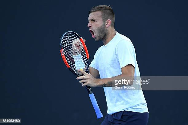 Daniel Evans of Great Britain celebrates in his second round match against Marin Cilic of Croatia on day three of the 2017 Australian Open at...