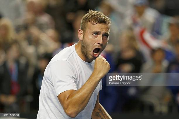 Daniel Evans of Great Britain celebrates match point in his third round match against Bernard Tomic of Australia on January 20 2017 in Melbourne...
