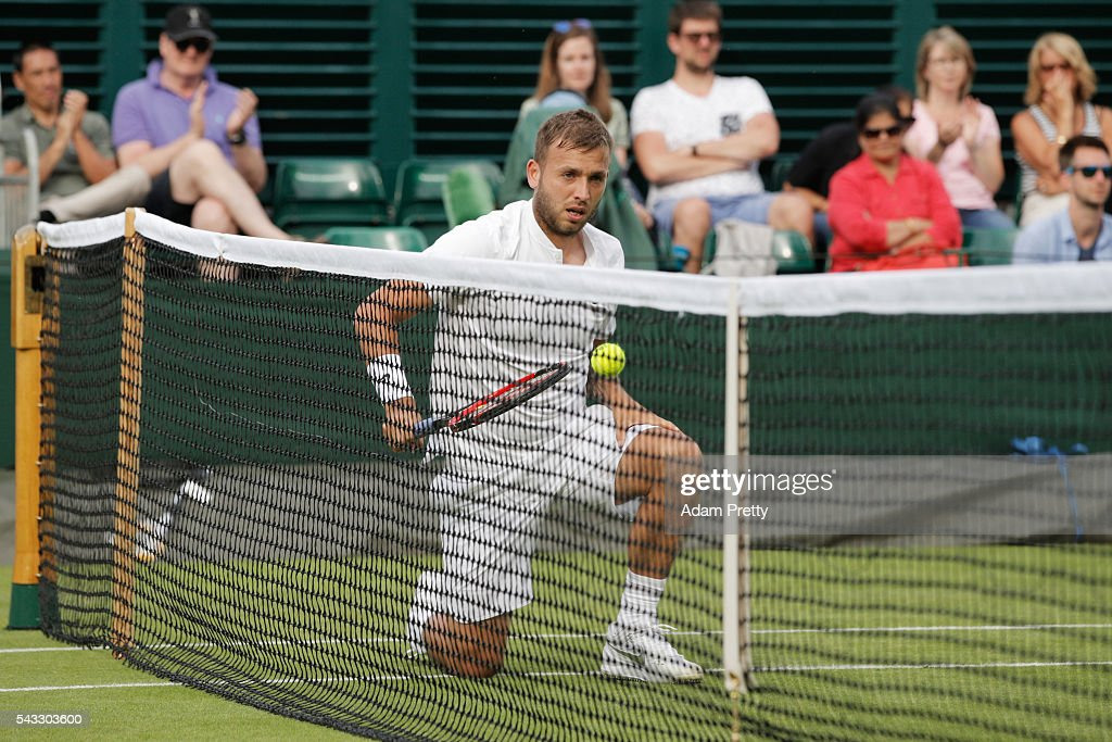 Daniel Evans of Great Britain looks on during the Men's Singles first round match against Jan-Lennard Struff on day one of the Wimbledon Lawn Tennis Championships at the All England Lawn Tennis and Croquet Club on June 27th, 2016 in London, England.