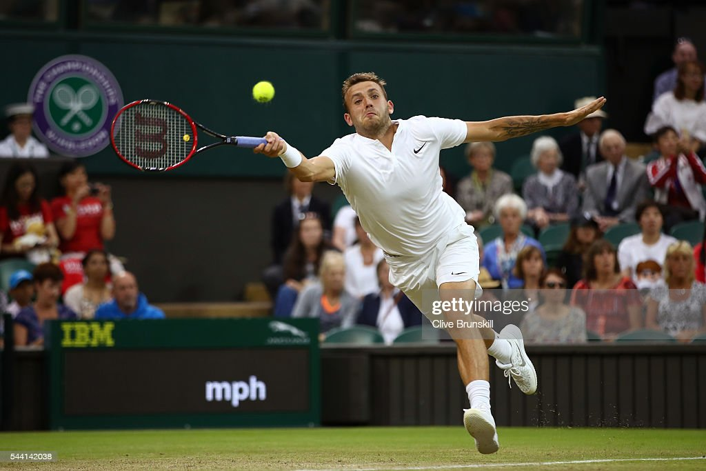 Daniel Evans of Great Britain plays a forehand during the Men's Singles third round match against Roger Federer of Switzerland on day five of the Wimbledon Lawn Tennis Championships at the All England Lawn Tennis and Croquet Club on July 1, 2016 in London, England.