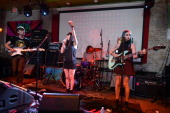 Daniel Falvey Jessica Weiss Mike Miles and Robyn Edwards of the band Fear of Men perform on stage at The British Music Embassy Latitude 30 during Day...