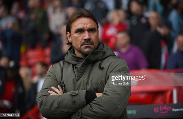 Daniel Farke manager of Norwich looks on during the Sky Bet Championship match between Sheffield United and Norwich City at Bramall Lane on September...