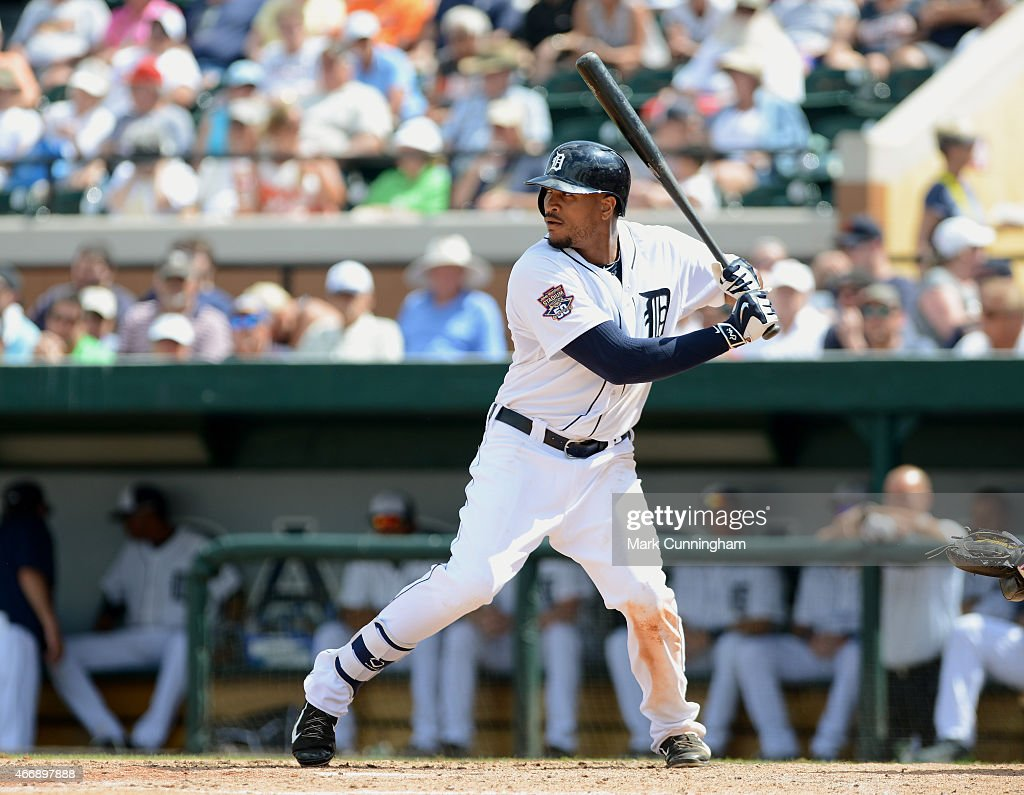 Daniel Fields #29 of the Detroit Tigers bats during the Spring Training game against the Philadelphia Phillies at Joker Marchant Stadium on March 14, 2015 in Lakeland, Florida. The Phillies defeated the Tigers 5-4.