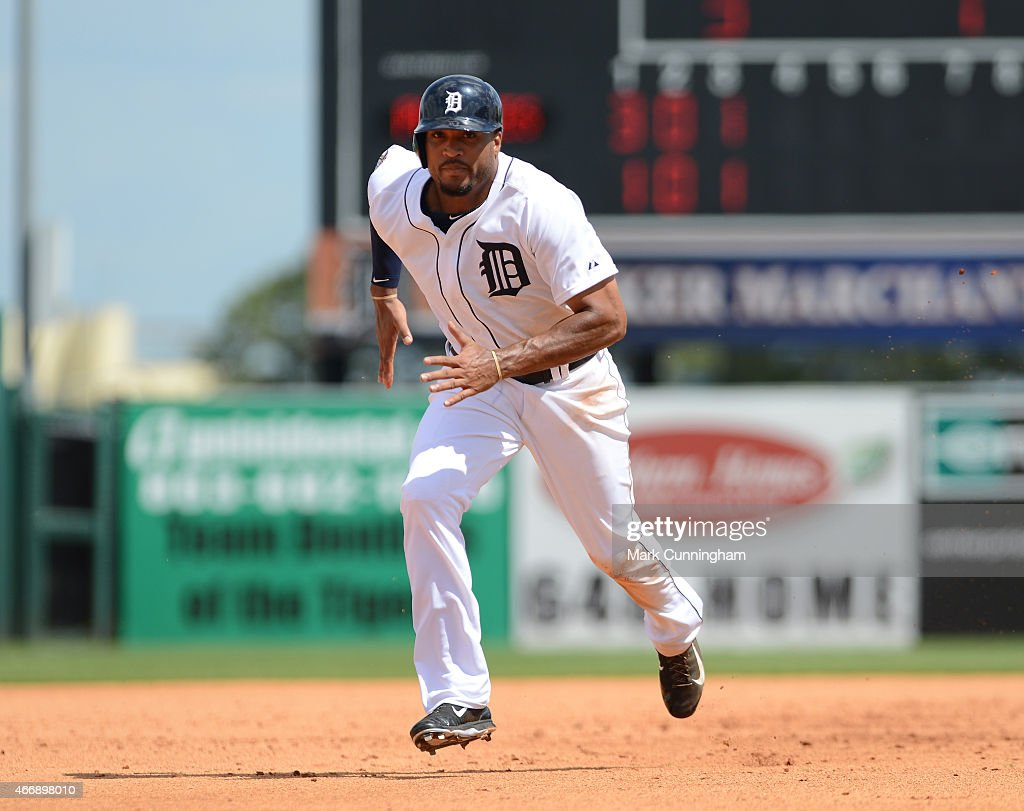 Daniel Fields #29 of the Detroit Tigers runs the bases during the Spring Training game against the Philadelphia Phillies at Joker Marchant Stadium on March 14, 2015 in Lakeland, Florida. The Phillies defeated the Tigers 5-4.