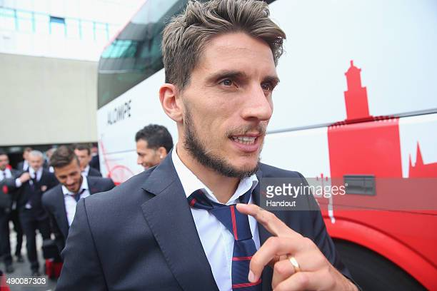 Daniel Filipe Martins Carrico of Sevilla FC arrives at the Turin airport Sandro Pertini with his wife Melanie Trochowski prior to the UEFA Europa...