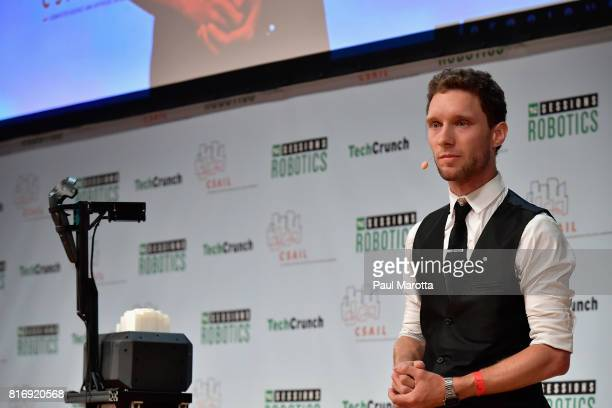 Daniel Fitzgerald competes at a PitchOff Session that includes judges Jeremy Conrad Helen Greiner Daniel Theobold and Melonee Wise at the TechCrunch...