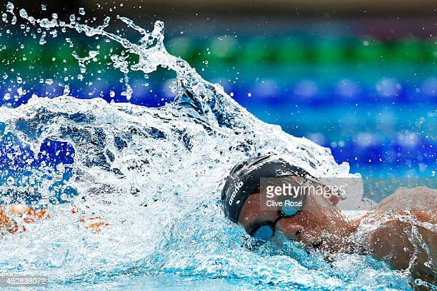 Daniel Fogg of England competes in the Men's 1500m Freestyle heat 2 at Tollcross International Swimming Centre during day five of the Glasgow 2014...