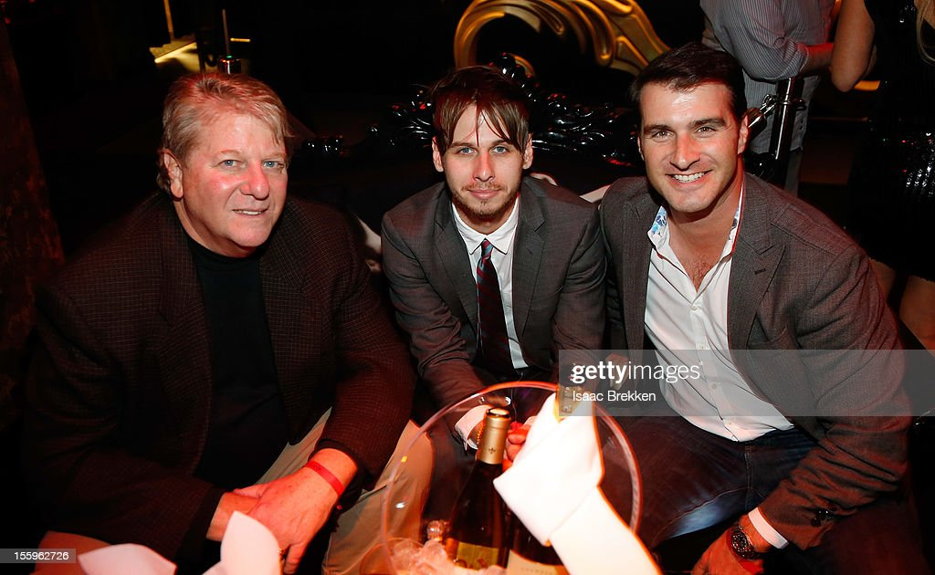 Daniel Foster, frontman Mark Foster of the band Foster the People and Kevin Gessay attend the after party for the Las Vegas premiere of 'Zarkana by Cirque du Soleil' at Haze Nightclub at the Aria Resort & Casino at CityCenter on November 9, 2012 in Las Vegas, Nevada.
