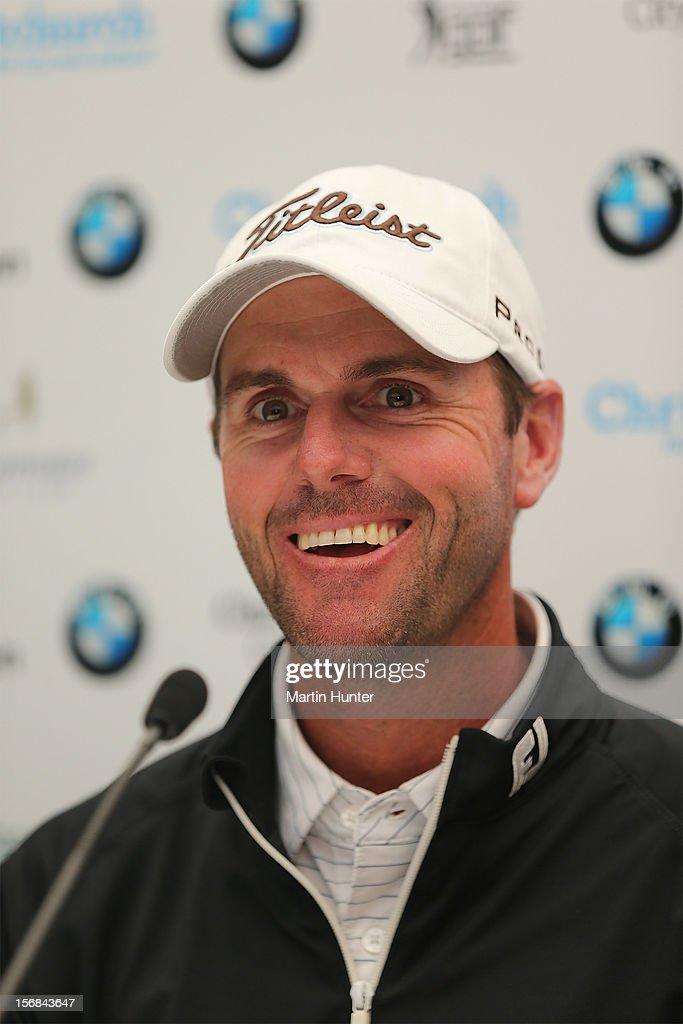 Daniel Fox of Australia talks at a media conference during day two of the New Zealand Open Championship at Clearwater Golf Course on November 23, 2012 in Christchurch, New Zealand.