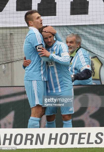 Daniel Frahn and Anton Fink of Chemnitz celebrate the sixth goal during the Third League Match between Chemnitzer FC and SV Wehen Wiesbaden on April...