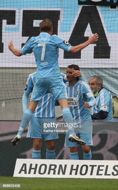 Daniel Frahn Dennis Grote and Anton Fink of Chemnitz celebrate the sixth goal during the Third League Match between Chemnitzer FC and SV Wehen...