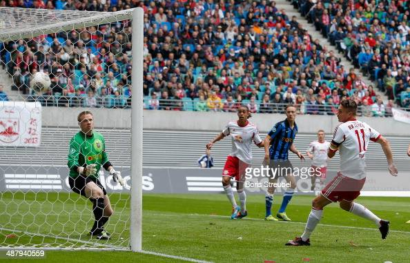 Daniel Frahn of Leipzig scores his team's third goal during the third league match between RB Leipzig and 1 FC Saarbruecken at Red Bull Arena on May...
