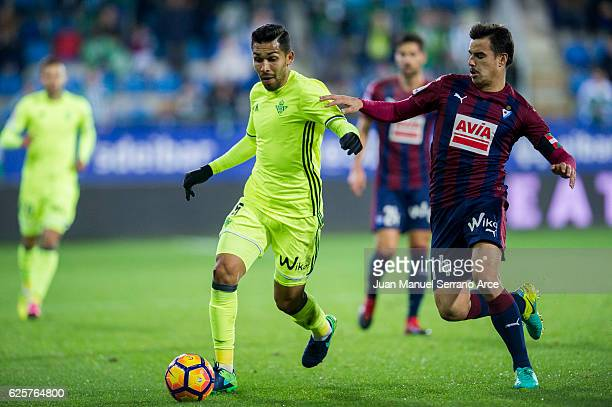 Daniel Garcia of SD Eibar duels for the ball with Petros Matheus dos Santos of Real Betis during the La Liga match between SD Eibar and Real Betis...