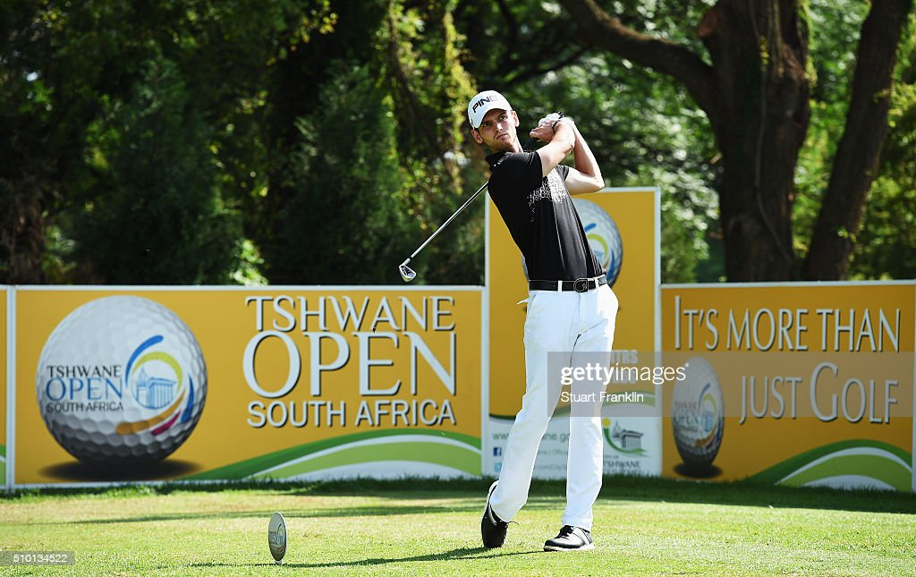 Daniel Gavins of England plays a shot during the final round of the Tshwane Open at Pretoria Country Club on February 14, 2016 in Pretoria, South Africa.