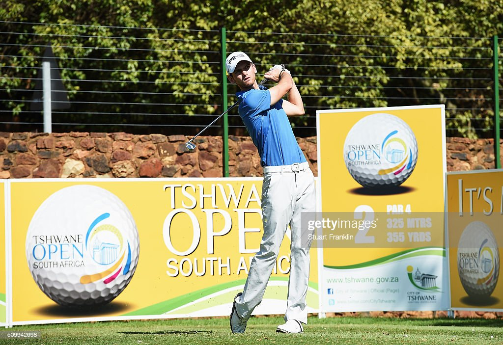 Daniel Gavins of England plays a shot during the third round of the Tshwane Open at Pretoria Country Club on February 13, 2016 in Pretoria, South Africa.