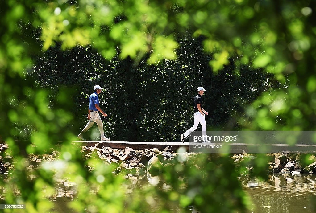 Daniel Gavins of England walks over a bridge during the second round of the Tshwane Open at Pretoria Country Club on February 12, 2016 in Pretoria, South Africa.