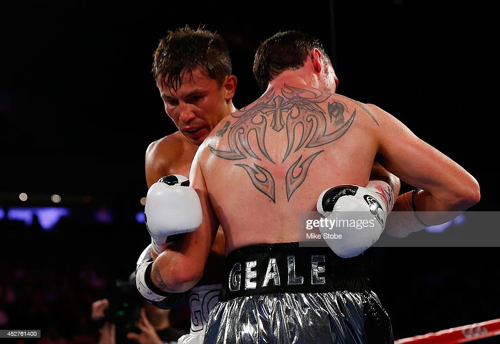 <a gi-track='captionPersonalityLinkClicked' href=/galleries/search?phrase=Daniel+Geale&family=editorial&specificpeople=2229560 ng-click='$event.stopPropagation()'>Daniel Geale</a> battles <a gi-track='captionPersonalityLinkClicked' href=/galleries/search?phrase=Gennady+Golovkin&family=editorial&specificpeople=10619206 ng-click='$event.stopPropagation()'>Gennady Golovkin</a> during the WBA/IBO middleweight championship bout at Madison Square Garden on July 26, 2014 in New York City.