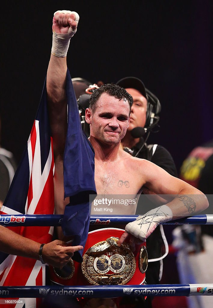 <a gi-track='captionPersonalityLinkClicked' href=/galleries/search?phrase=Daniel+Geale&family=editorial&specificpeople=2229560 ng-click='$event.stopPropagation()'>Daniel Geale</a> celebrates winning the IBF Middleweight Title bout between Anthony Mundine and <a gi-track='captionPersonalityLinkClicked' href=/galleries/search?phrase=Daniel+Geale&family=editorial&specificpeople=2229560 ng-click='$event.stopPropagation()'>Daniel Geale</a> at Sydney Entertainment Centre on January 30, 2013 in Sydney, Australia.