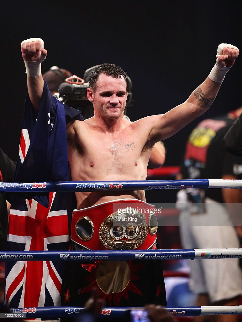 Daniel Geale celebrates winning the IBF Middleweight Title bout between Anthony Mundine and Daniel Geale at Sydney Entertainment Centre on January 30, 2013 in Sydney, Australia.