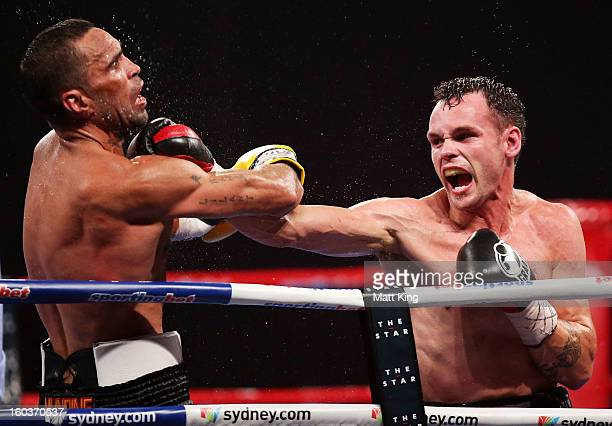 Daniel Geale lands a right on Anthony Mundine during the IBF Middleweight Title bout between Anthony Mundine and Daniel Geale at Sydney Entertainment...