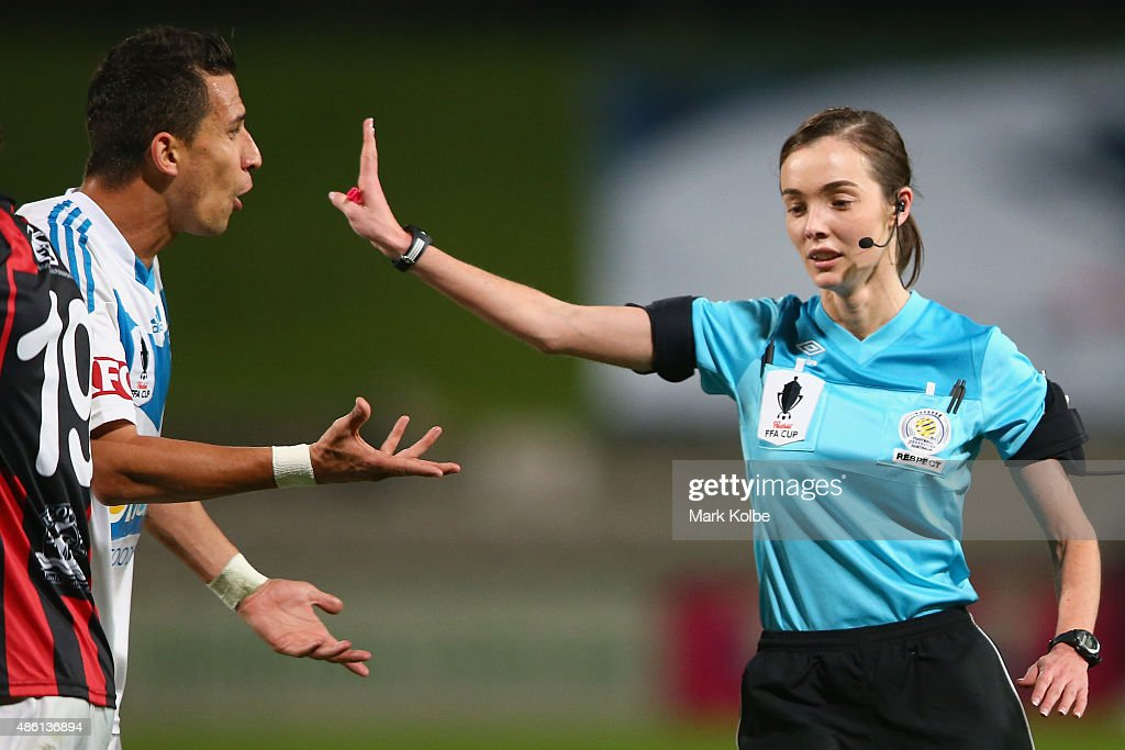 Daniel Georgievski of the Victory argues with referee Katie Patterson during the FFA Cup Round of 16 match between Rockdale City Suns and Melbourne...
