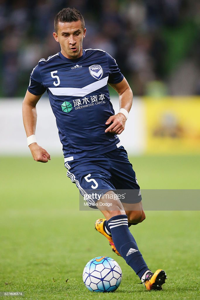 Daniel Georgievski of the Victory controls the ball during the AFC Champions League match between Melbourne Victory and Gamba Osaka at AAMI Park on May 3, 2016 in Melbourne, Australia.