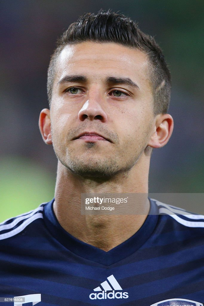 Daniel Georgievski of the Victory looks on during the AFC Champions League match between Melbourne Victory and Gamba Osaka at AAMI Park on May 3, 2016 in Melbourne, Australia.