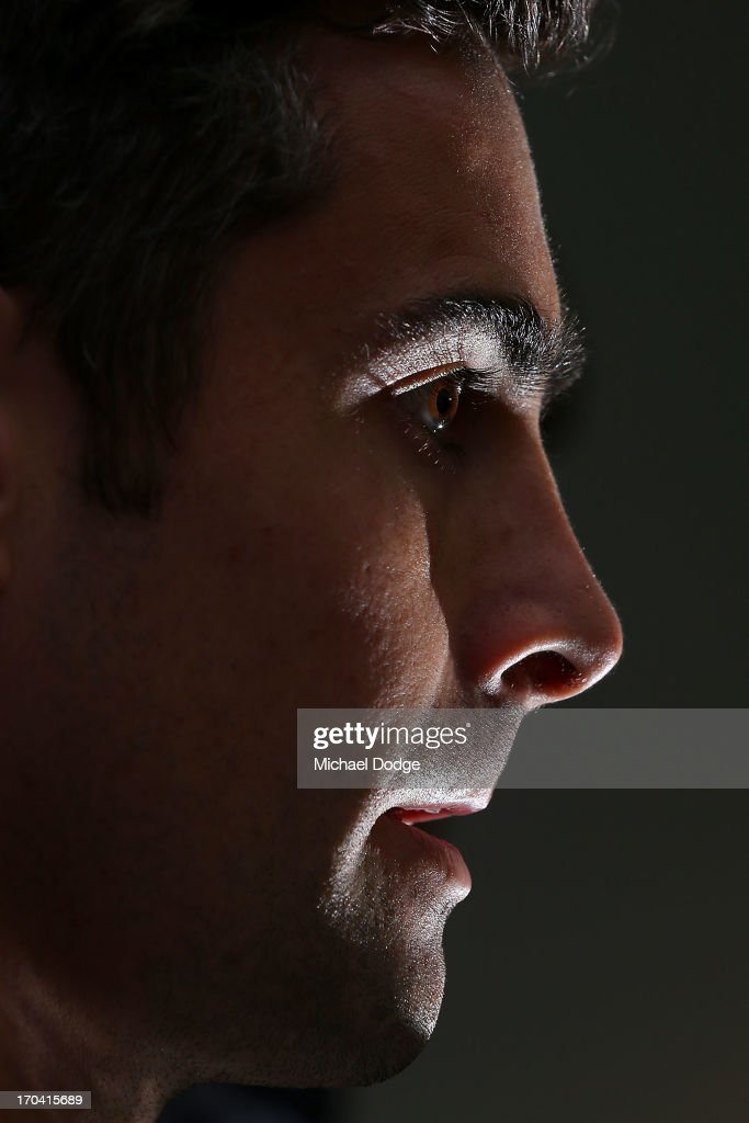 <a gi-track='captionPersonalityLinkClicked' href=/galleries/search?phrase=Daniel+Giansiracusa&family=editorial&specificpeople=240627 ng-click='$event.stopPropagation()'>Daniel Giansiracusa</a> speaks during a Western Bulldogs AFL media session at Whitten Oval on June 13, 2013 in Melbourne, Australia.
