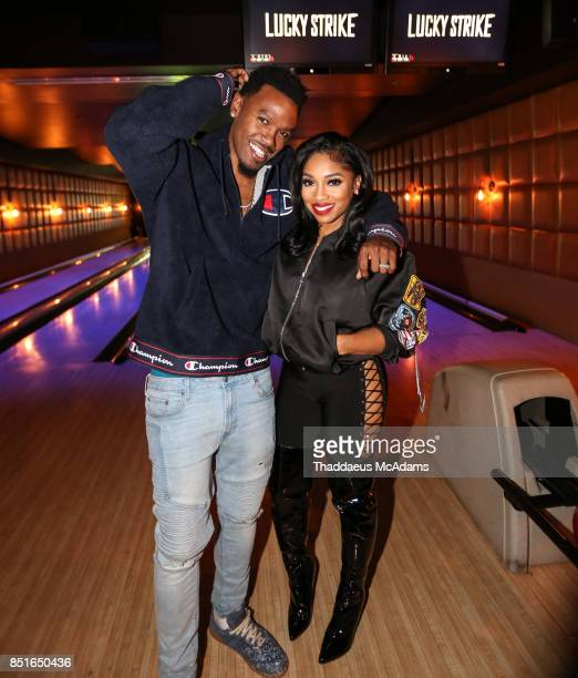 Daniel Gibson and Brooke Valentine at Lucky Strike Bowling Alley on September 21 2017 in Hollywood California