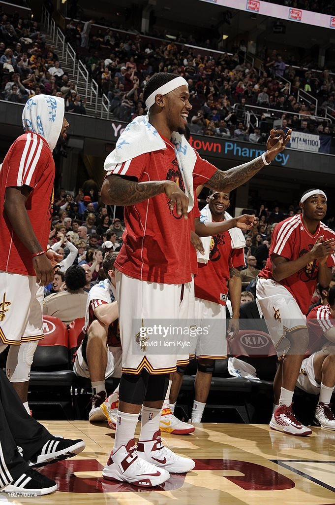 <a gi-track='captionPersonalityLinkClicked' href=/galleries/search?phrase=Daniel+Gibson&family=editorial&specificpeople=213906 ng-click='$event.stopPropagation()'>Daniel Gibson</a> #1 and the Cleveland Cavaliers celebrate from the sidelines during the game against the Orlando Magic at The Quicken Loans Arena on February 8, 2013 in Cleveland, Ohio.