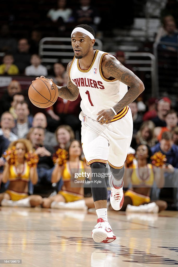<a gi-track='captionPersonalityLinkClicked' href=/galleries/search?phrase=Daniel+Gibson&family=editorial&specificpeople=213906 ng-click='$event.stopPropagation()'>Daniel Gibson</a> #1 of the Cleveland Cavaliers brings the ball up court against the Indiana Pacers at The Quicken Loans Arena on March 18, 2013 in Cleveland, Ohio.