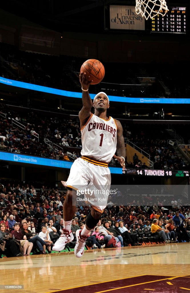 <a gi-track='captionPersonalityLinkClicked' href=/galleries/search?phrase=Daniel+Gibson&family=editorial&specificpeople=213906 ng-click='$event.stopPropagation()'>Daniel Gibson</a> #1 of the Cleveland Cavaliers goes to the basket during the game between the Montepaschi Siena and the Cleveland Cavaliers at The Quicken Loans Arena on October 8, 2012 in Cleveland, Ohio.