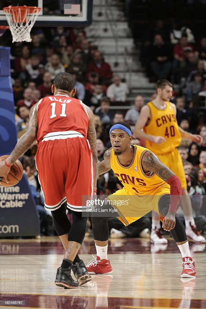 <a gi-track='captionPersonalityLinkClicked' href=/galleries/search?phrase=Daniel+Gibson&family=editorial&specificpeople=213906 ng-click='$event.stopPropagation()'>Daniel Gibson</a> #1 of the Cleveland Cavaliers plays tight defense against <a gi-track='captionPersonalityLinkClicked' href=/galleries/search?phrase=Monta+Ellis&family=editorial&specificpeople=567403 ng-click='$event.stopPropagation()'>Monta Ellis</a> #11 of the Milwaukee Bucks at The Quicken Loans Arena on January 25, 2013 in Cleveland, Ohio.