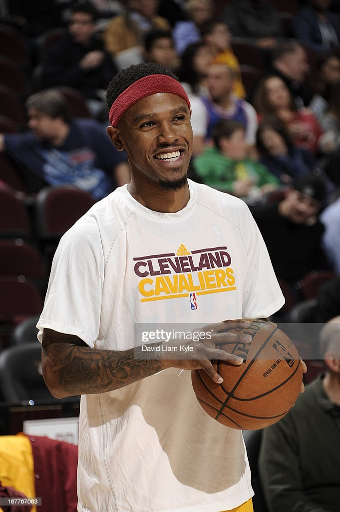 <a gi-track='captionPersonalityLinkClicked' href=/galleries/search?phrase=Daniel+Gibson&family=editorial&specificpeople=213906 ng-click='$event.stopPropagation()'>Daniel Gibson</a> #1 of the Cleveland Cavaliers smiles during warmups before the game against the Brooklyn Nets at The Quicken Loans Arena on April 3, 2013 in Cleveland, Ohio.