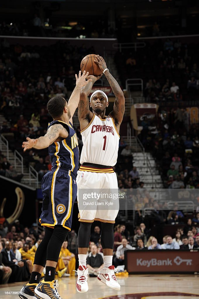 <a gi-track='captionPersonalityLinkClicked' href=/galleries/search?phrase=Daniel+Gibson&family=editorial&specificpeople=213906 ng-click='$event.stopPropagation()'>Daniel Gibson</a> #1 of the Cleveland Cavaliers takes a shot against the Indiana Pacers at The Quicken Loans Arena on March 18, 2013 in Cleveland, Ohio.